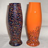 Kralik? Multi Spatter Glass Vases, Related Shape, 6 inches Tall, Signed.