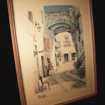"Italian Street Scene Watercolor ""Mario Cuppa""XX Century - Visual Art"