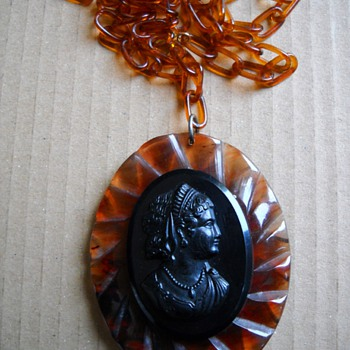 Bakelite & Lucite Mourning Locket posted today in memory of the Holocaust Victims - Costume Jewelry