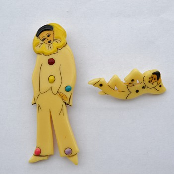 Galalith Pierrot Pins / Brooches - 1940's? - Art Deco