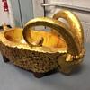 Mid century ceramic danish style golden ram bowl
