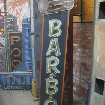 Vintage 1970's BAR B.Q. Antique Neon Sign - Tall barbecue - Signs