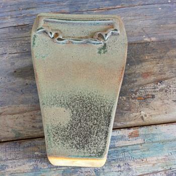 Celadon glazed flat geometrical shape stoneware vase