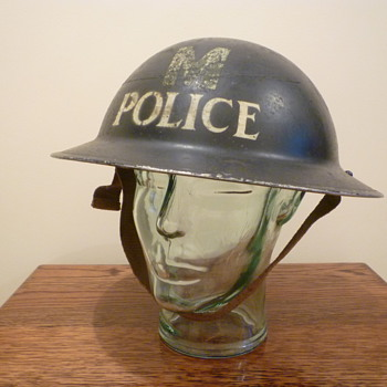 British WWII Police Messenger steel helmet. - Military and Wartime