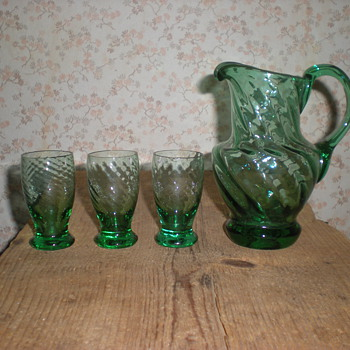 Art Nouveau small jug and cups. - Glassware