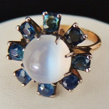 Vintage Deco Retro Cayseye Moonstone Mine Cut Sapphire 14k Rose Gold Ring - Fine Jewelry