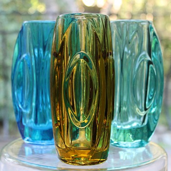 """Lens"" or ""Bullet"" Vases by Rosice - Art Glass"