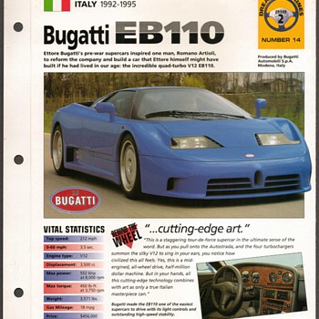 Hot Cars Card - Bugatti EB110