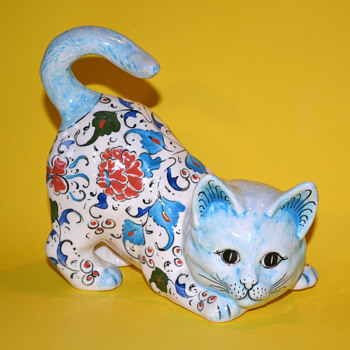 Handmade/Painted Ceramic Floral Cat