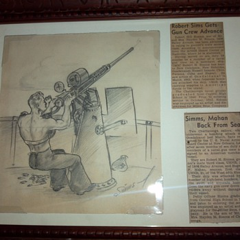 One ofof my grandfathers WW2 Sketch drawings and newspaper articles  - Military and Wartime