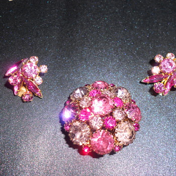 Beautiful Vintage Estate Weiss Brooch and Austria Earrings - Costume Jewelry