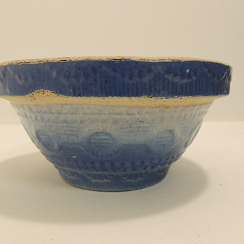 Blue & White Stoneware Berry/Cereal Bowl - Late 1800's