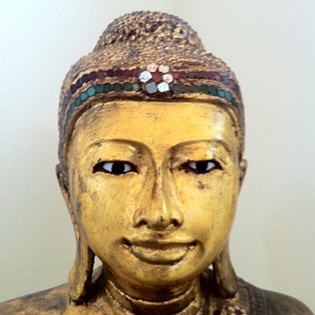 19th Century Mandalay Buddha with glass mosaic