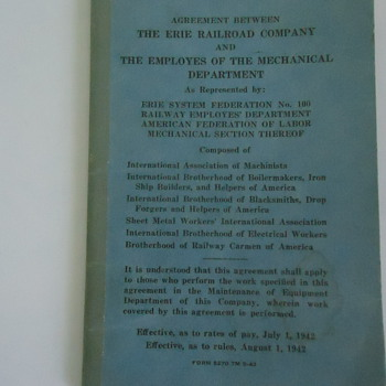 agreement between the ERIE RAILROAD CO. AND THE EMPLOYES OF THE MECHANICAL DEPARTMENT ..EFFECTIVE AUGUST I,1942 - Railroadiana
