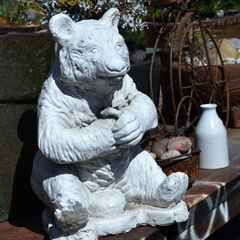 Old Cement Garden Statue of a Bear - Animals