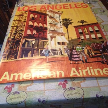 REAL OR REPRO? Awesome Flea market find 30x40 AMERICAN AIRLINES TRAVEL POSTER - Posters and Prints