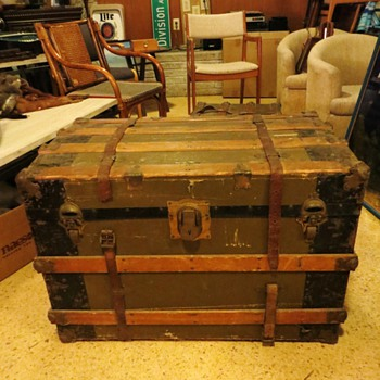 "Super Cool Antique Steamer Trunk - Marked ""Sterling Trade Mark"""