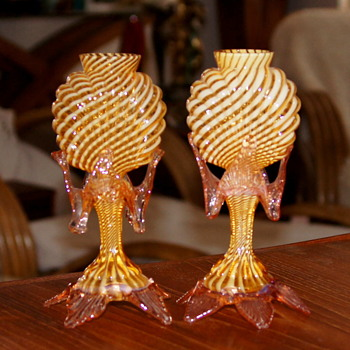 Welz Life-Light Style Vases - Spiral White Ribbons in Amber   - Art Glass
