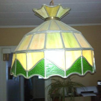 Lead stained glass hanging lamp