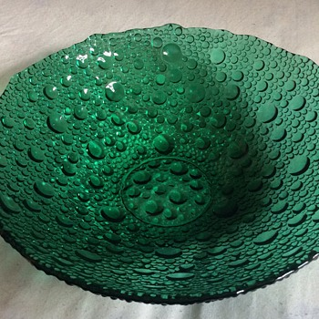Vintage Green glass bowl - Art Glass