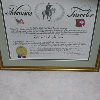 CERTIFICATE SIGNED BY BILL CLINTON - Paper