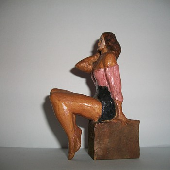 A Leggy Wooden Pin Up Folk Art Carving collection Jim Linderman - Folk Art