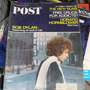 "1966 SATURDAY EVENING POST COVER BOB DYLAN REBEL KING ""ROCK & ROLL"""