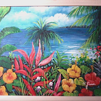 "W. James / Florida Landscape / Oil on Canvas 18""x 14"" Framed / Circa 19??"