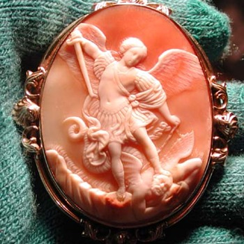 Fabulous cameo of St Michael slewing the devil - Victorian Era