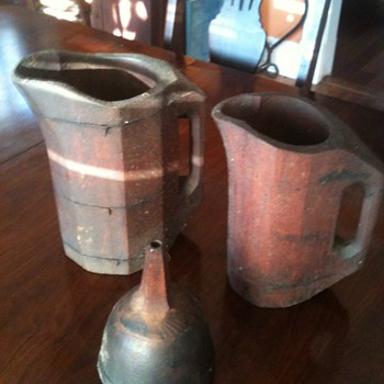 wood pitchers and funnel