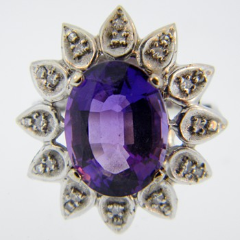 Vintage Deco Amethyst Diamond Dinner 14k Ring