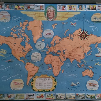 Very Rare H.J. Heinz Famous Flights Map Cir 1936-1937 - Paper