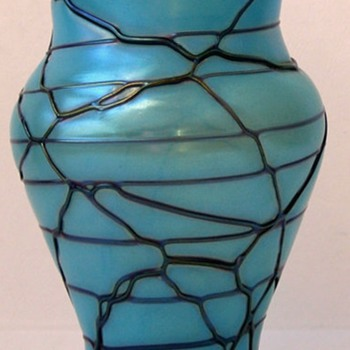 Robin's Egg Blue Veined Kralik Vase c.1900 - Art Glass