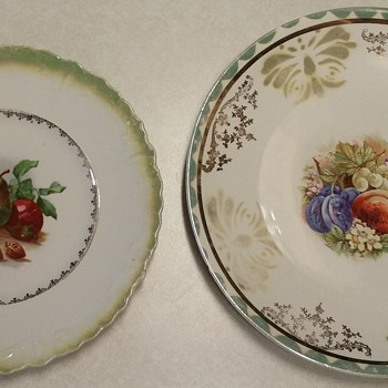 Two Plates with Similar Center Patterns - China and Dinnerware