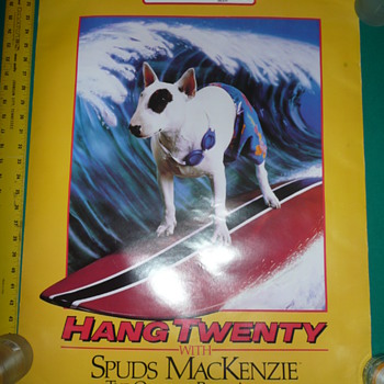 1986 Bud Light Beer Spuds Mackenzie Hang Twenty Poster