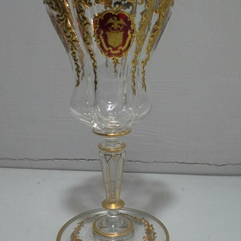 quatrefoil goblet with the coat of arms of the ezra p prentice family
