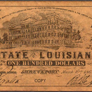 Confederate Currency - Novelty Note (Louisiana)