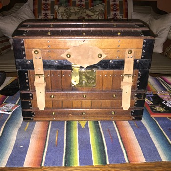 Rare excelsior doll steamer trunk 1800's complete