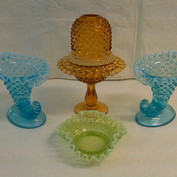 FENTON HOBNAIL FAIRY LIGHT AND CORNICOPIA CANDLE HOLDERS