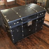 "antique leather 1850's - 60's brass studded trunk aka ""Pepto trunk"""