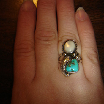 Turquoise and Mother of Pearl Ring - Fine Jewelry