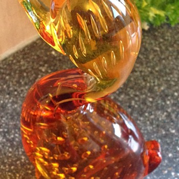 Whitefriars Amber glass bubble duck - Art Glass
