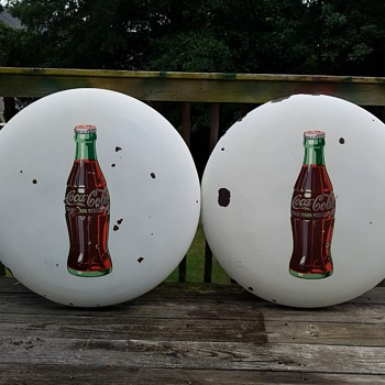 "Two 36"" White Porcelain Coca Cola Button Signs"