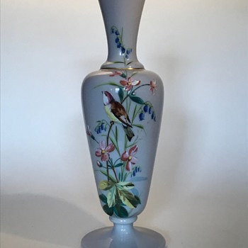 Harrach Lilac/Grey Bird enameled vase C1890? - Art Glass
