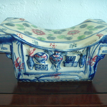 Chinese Porcelain Pillow / Head Rest / Blue & White