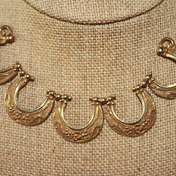 Gold over Silver Necklace and Earrings