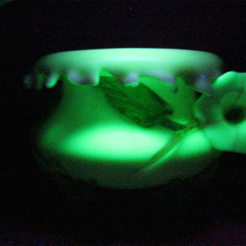 Large Beautiful Blown Uranium Glass Applied Floral footed Bowl 