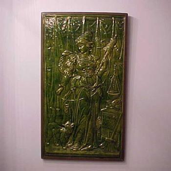 Rare Zanesville Majolica Company Tile, circa 1882-1884 - Art Nouveau
