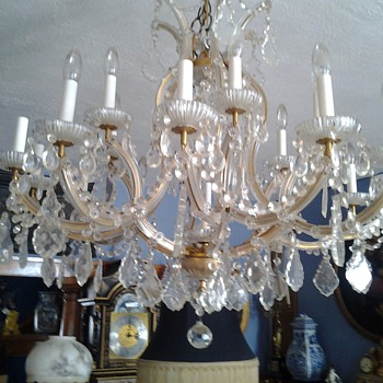 1950's? 12 Arm Maria Theresa Chandelier - Lamps