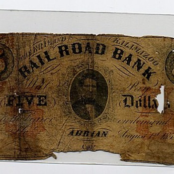 Kalamazoo Railroad Bank $5 Bill 1853 - Railroadiana